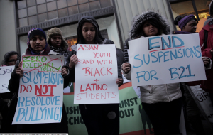 DRUM youth members stand in solidarity with Black and Latino Students